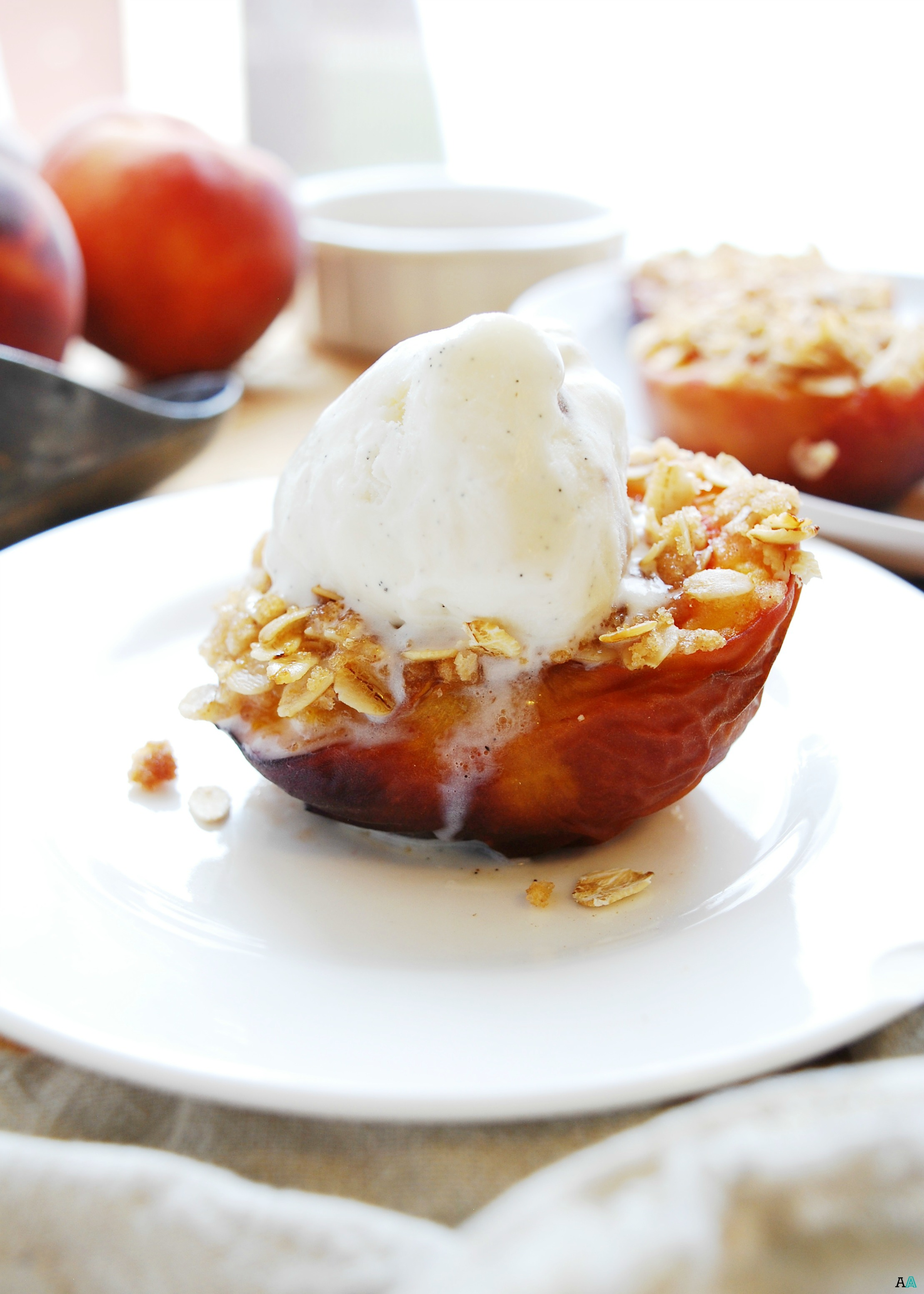 Streusel Stuffed Peaches (Gluten, dairy, egg, soy, peanut & tree nut ...