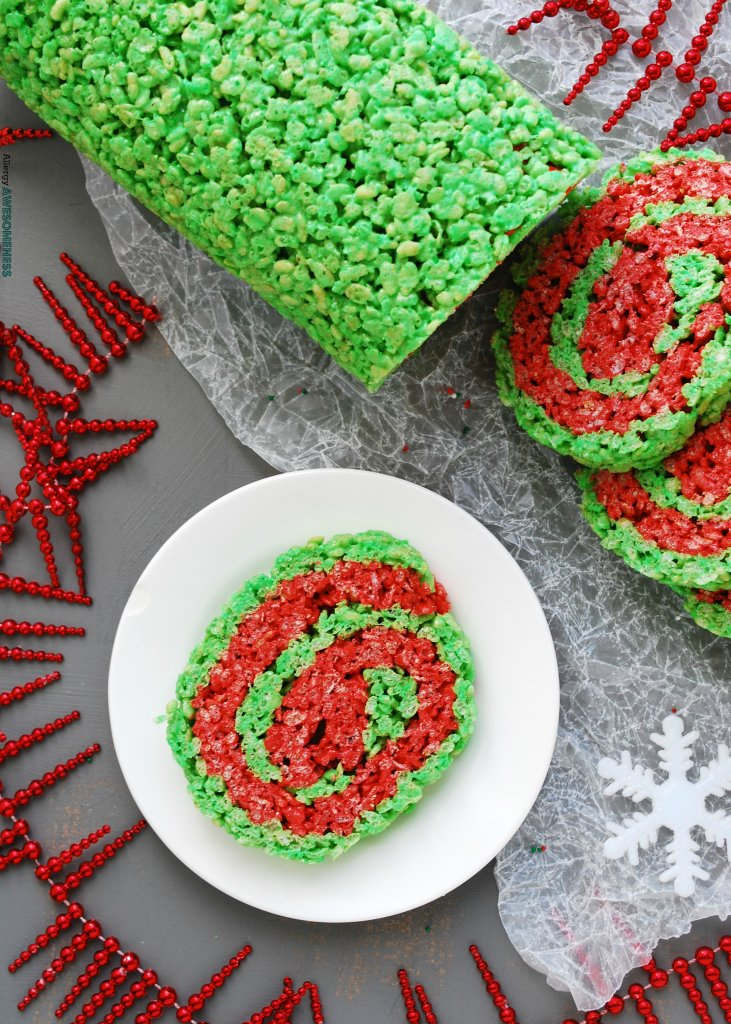 Christmas Rice Krispie Roll Gluten Dairy Egg Soy