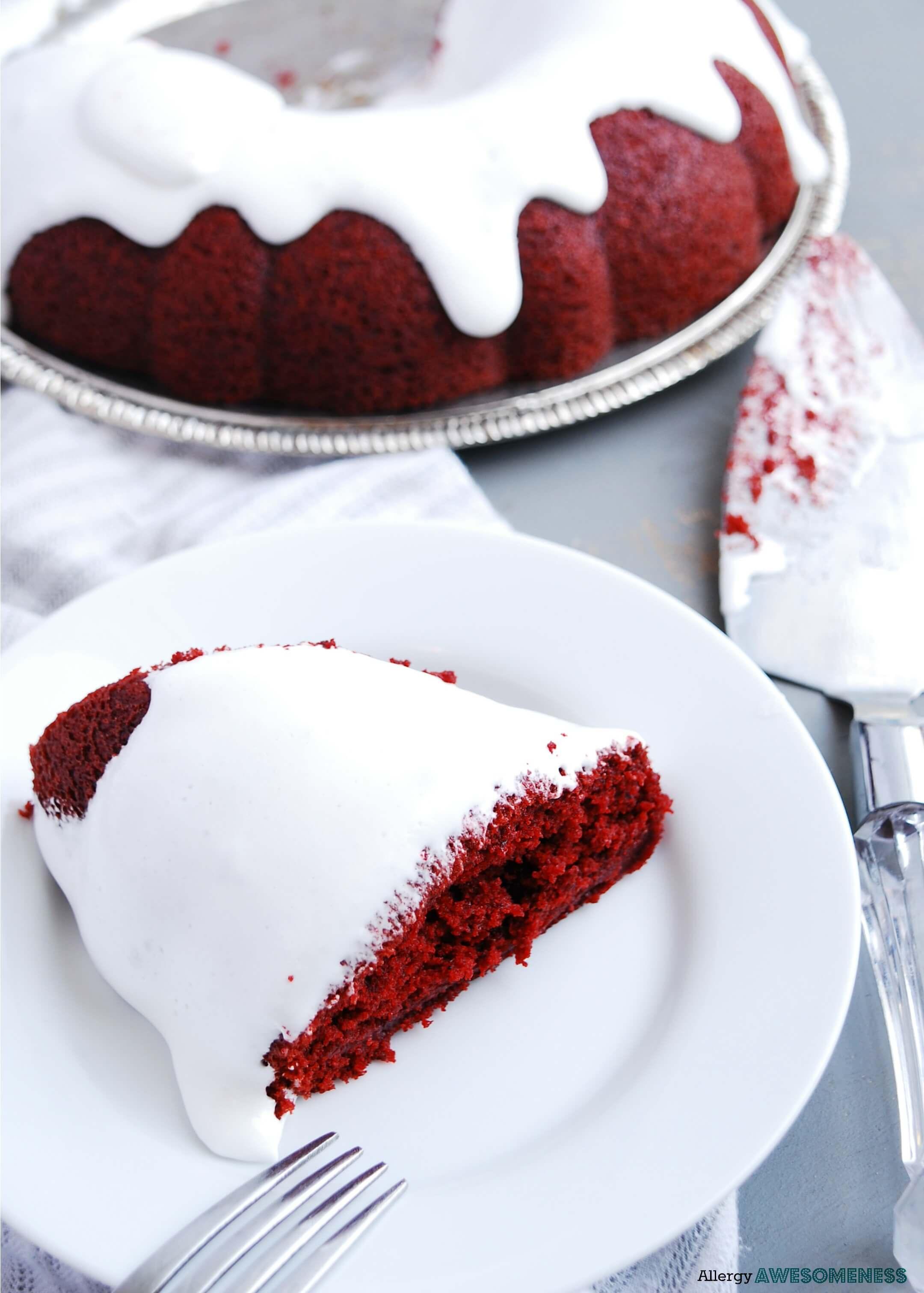 Gluten Free Vegan Red Velvet Bundt Cake With Sticky Marshmallow Icing Allergy Awesomeness